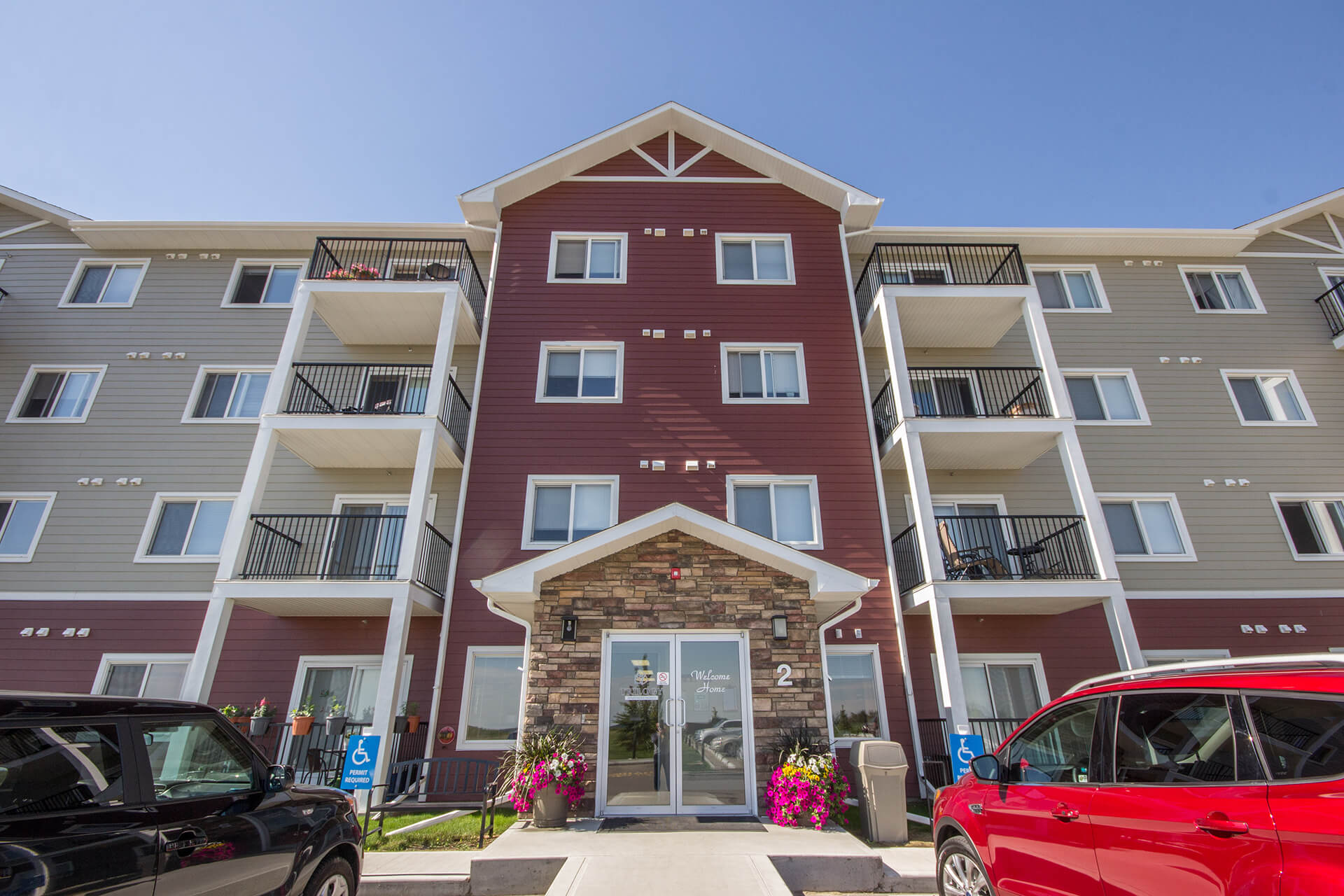 Image of the exterior of Trilogy Apartments